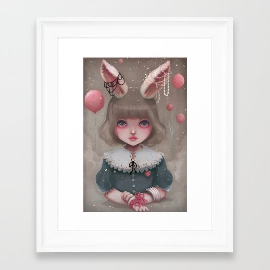 Juliette, balloons & pearls... Framed Art Print