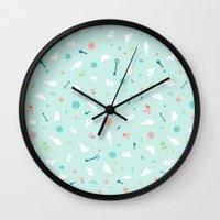 Birds in Silhouette on light blue Wall Clock