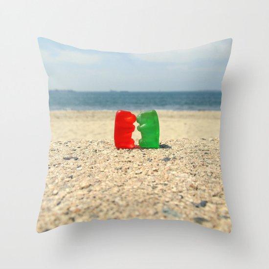 Gummy Bear Beach Kiss Throw Pillow