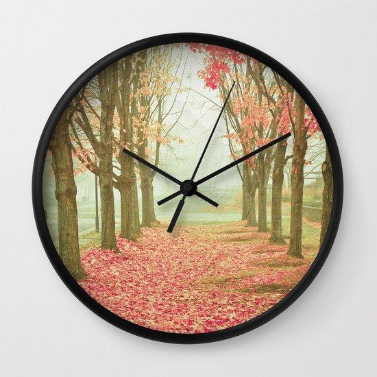 Scarlet Autumn Wall Clock