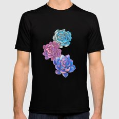 Vibrant Succulents  Mens Fitted Tee Black SMALL