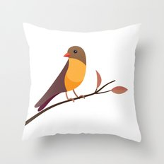 Yellow Breasted Bird Throw Pillow