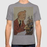 Tin Tin 3 Mens Fitted Tee Athletic Grey SMALL