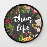 Wall Clock featuring Thug Life by Text Guy