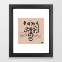 Pointillism Panther Framed Art Print