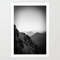 Mountain Side Black and White Photo Europe Nature Art Print