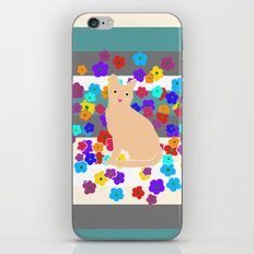 The Tale of the Orange Cat and a Mouse Against Flowers iPhone & iPod Skin