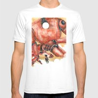 Moonbot #1: Red Mens Fitted Tee White SMALL