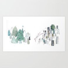 Mountains and the city Art Print