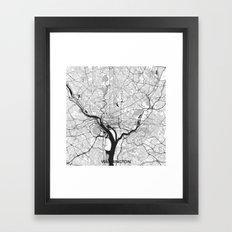 Washington Map Gray Framed Art Print