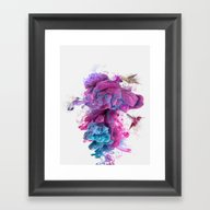 Framed Art Print featuring Hummingbirds Ink by One Man Workshop