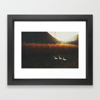 Walking geese Framed Art Print