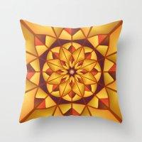 Golden geometric flourish Throw Pillow