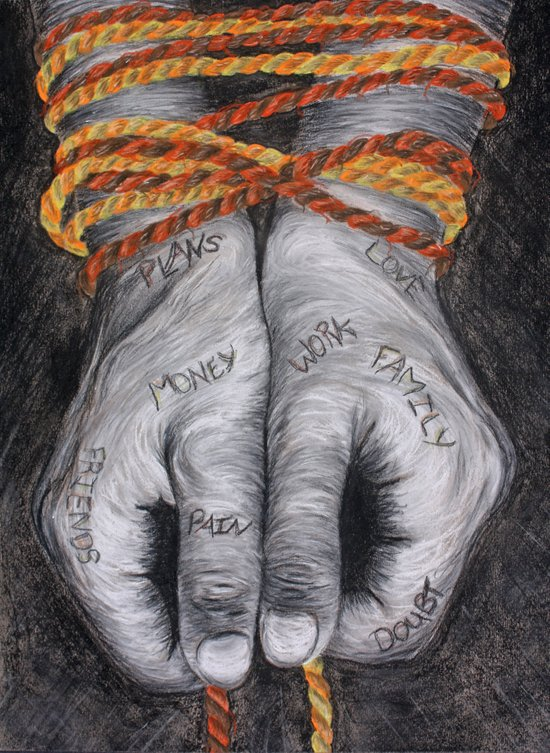 Hands are Tied. Art Print