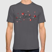 Love, Butterfly Hearts &… Mens Fitted Tee Asphalt SMALL