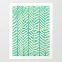 Mint Herringbone Art Print