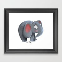 Elly The Shy Elephant Framed Art Print