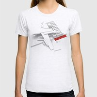 Malevich 3D [B&W] Womens Fitted Tee Ash Grey SMALL