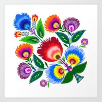 Colorful Folk Flowers Art Print
