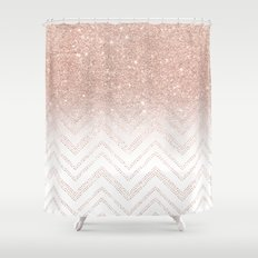 Modern faux rose gold glitter ombre modern chevron stitches pattern Shower Curtain