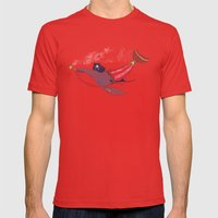 Pirate Whale Mens Fitted Tee Red SMALL