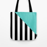 Triangle Stripes (Turquoise) Tote Bag