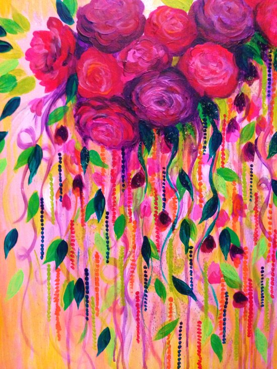 ROSES ARE RAD 2- Bold Pink Red Roses Floral Bouquet Vines, Flower Abstract Acrylic Painting Fine Art Canvas Print