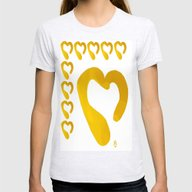 Gold Hearts On White - L… Womens Fitted Tee Ash Grey SMALL