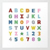 Alphabet On White Art Print