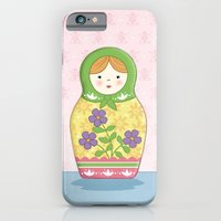 iPhone & iPod Case featuring Matryoshka Doll (green & yellow) by Amanda Francey