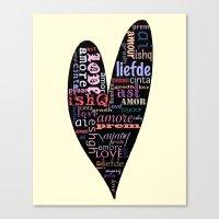 Multilingual Love Canvas Print