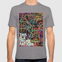 This is a Drunk Pattern Mens Fitted Tee Tri-Grey SMALL