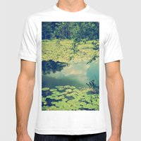 Lily Pad Pond Mens Fitted Tee White SMALL