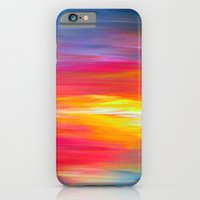 BRIGHT HORIZONS Bold Colorful Rainbow Pink Yellow Blue Abstract Painting Sunrise Sunset Stripes  iPhone 6 Slim Case