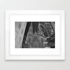 Atlas Statue Black and White Framed Art Print