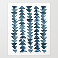 Indigo Triangles Art Print
