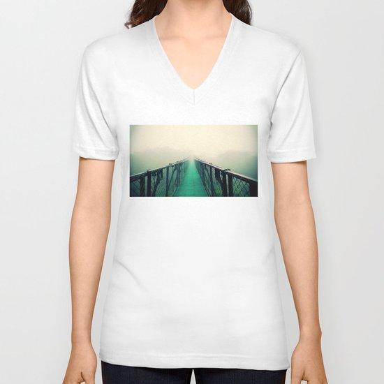 suspension bridge V-neck T-shirt