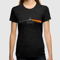 The Darkside Of The Deat… Womens Fitted Tee Tri-Black SMALL