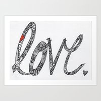 Love Zentangle  Art Print