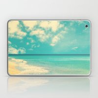 Waves of the sea (retro beach and blue sky) Laptop & iPad Skin