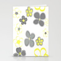 Spring Floral Yellow Grey Stationery Cards