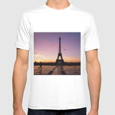 Eiffel Tower in a Pink Sunrise Mens Fitted Tee SMALL White