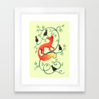 Bunnies and a Fox Framed Art Print