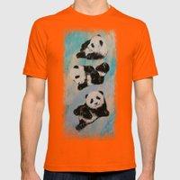 Panda Karate Mens Fitted Tee Orange SMALL