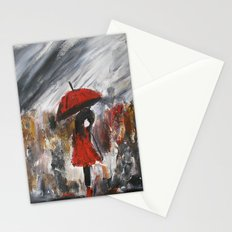 Girl In Red Raincoat Umbrella Rainy Day Fine Art Print Of Acrylic Painting Stationery Cards