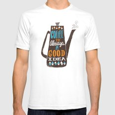 coffee is always a good idea SMALL Mens Fitted Tee White
