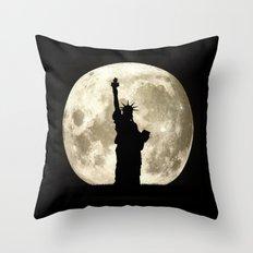 Full Moon Liberty Silhouette  Throw Pillow