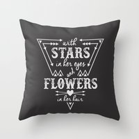 Stars in Her Eyes Flowers in Her Hair Throw Pillow