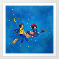 Wizard meets Delivery Girl Art Print