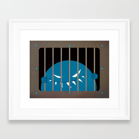 Evil Monster Kingpin Jailed  Framed Art Print